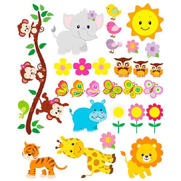 Kit animales de la jungla for Vinilos decorativos infantiles para pared