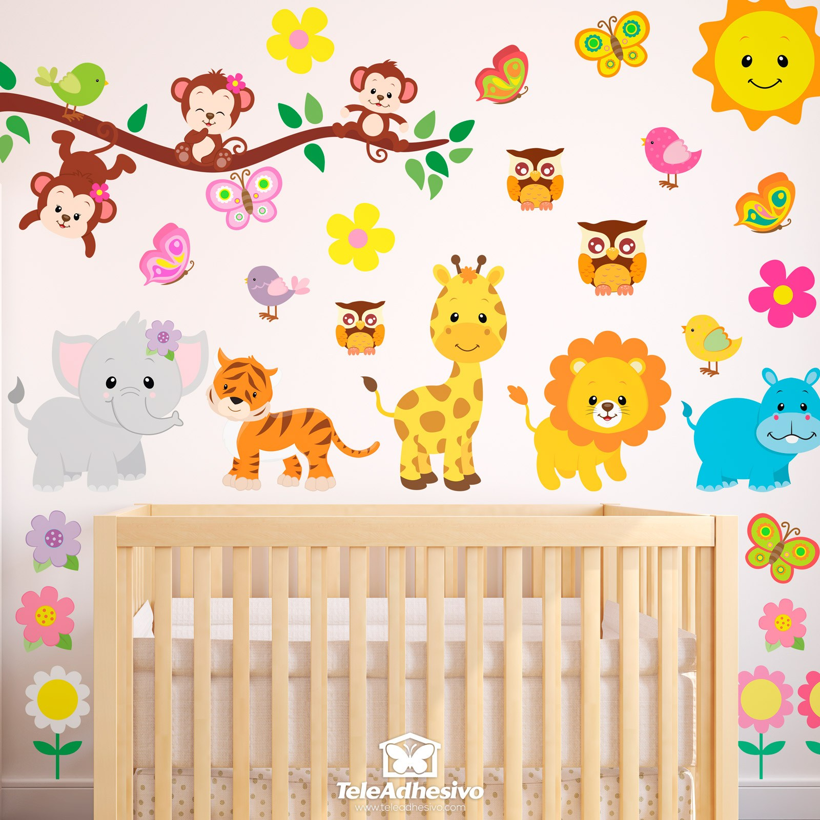 Vinilo decorativo infantil kit animales de la jungla - Jungle wandtattoo ...