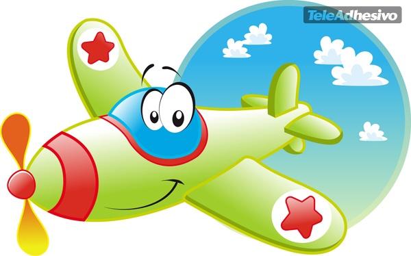Adhesivo infantil de una avioneta - Imagenes de vinilos infantiles ...