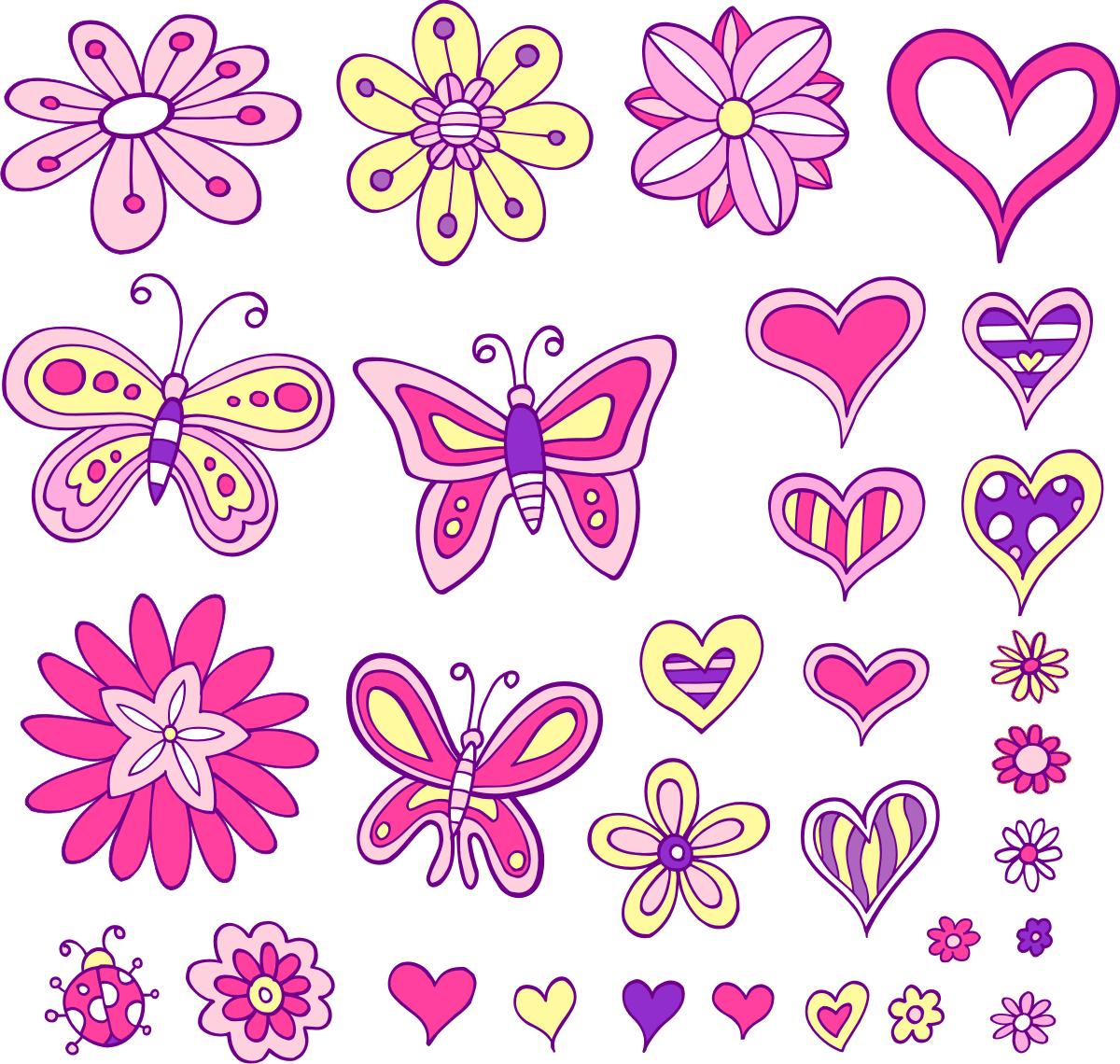 Corazones mariposas y flores