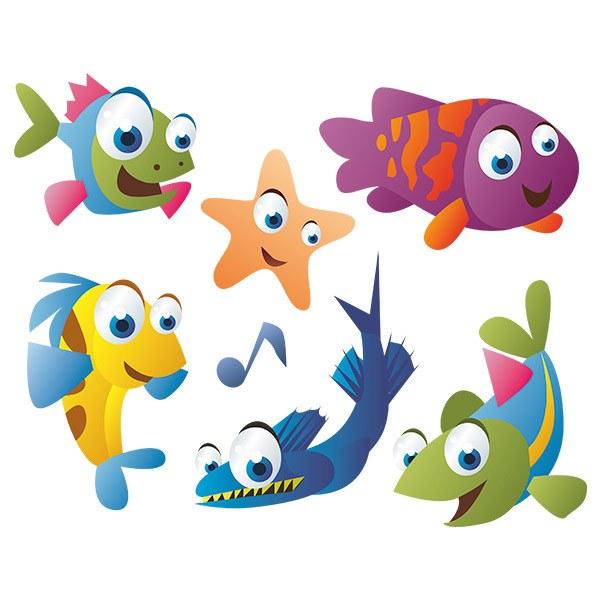 Vinilo infantil kit acuario peces de colores for Peces de colores para acuarios