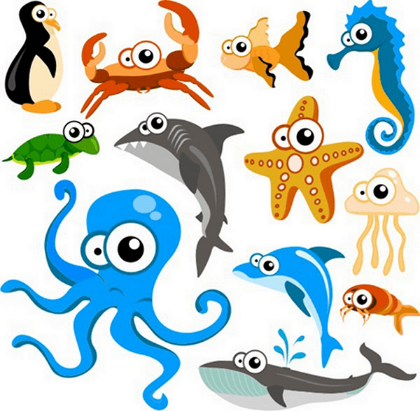 Kit de vinilos infantiles de animales marinos del acuario - Fotos de animales infantiles ...