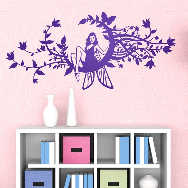Vinilo decorativo hada en una luna floreada for Vinilos para nenas