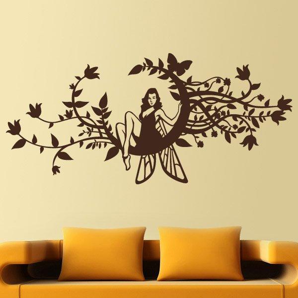 Vinilo decorativo hada en una luna floreada for Vinilo para habitacion de nina
