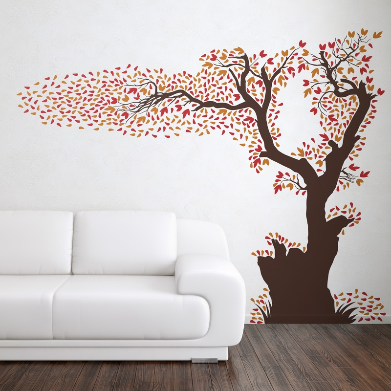 Rbol perdiendo sus hojas en 3 colores - Arboles en la pared ...