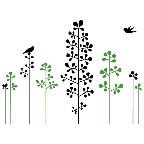 Vinilo floral arbustos y pajaritos for Arbustos decorativos