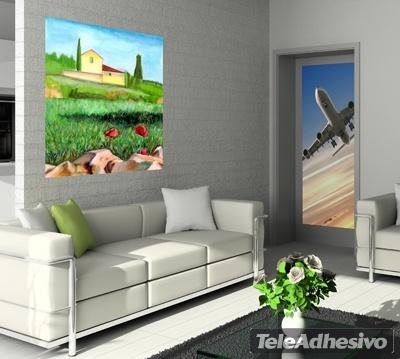 Vinilo decorativo pintura de paisaje campesino for Vinilos murales adhesivos