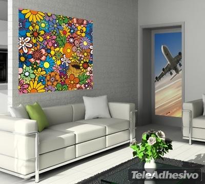 Vinilo decorativo flores for Vinilos decorativos murales