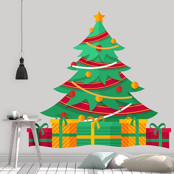 vinilo decorativo infantil Árbol con regalos de navidad