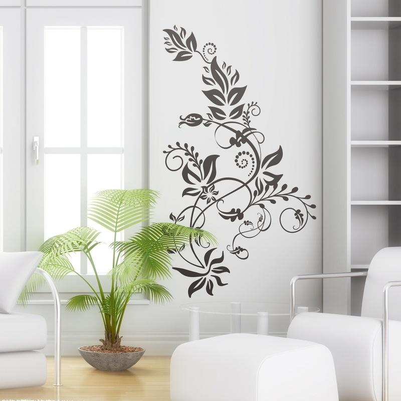 Vinilo floral ornamental tarai en primavera for Vinilos pared modernos