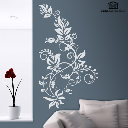 Vinilo decorativo floral tarai for Vinilos decorativos recamaras