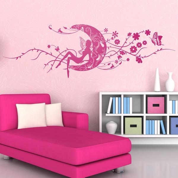 Vinilo decorativo hada erzulie en la luna floral y mariposas for Vinilos de pared juveniles