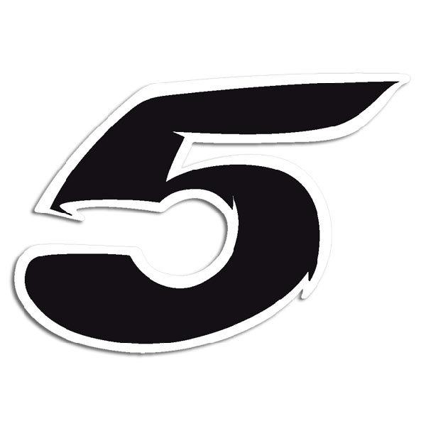pegatina número 5 negro y blanco