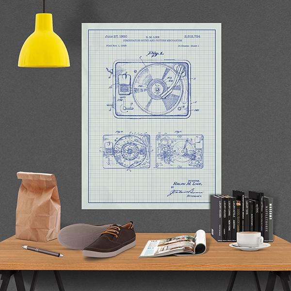 P ster adhesivo tocadiscos patente blanca - Discos vinilos decorativos ...
