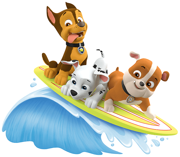 Vinilos Infantiles: Patrulla Canina - Chase, Marshall y Rubble surfean