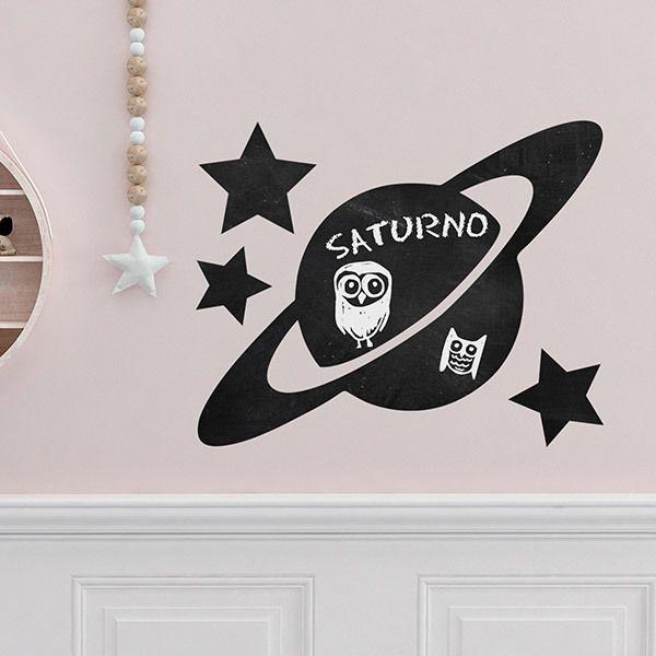 Vinilos Decorativos Planetas.Vinilo Decorativo Pizarra Del Planeta Saturno Teleadhesivo Com