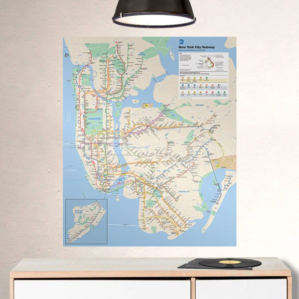 Vinilos Decorativos: Póster Mapa Metro New York