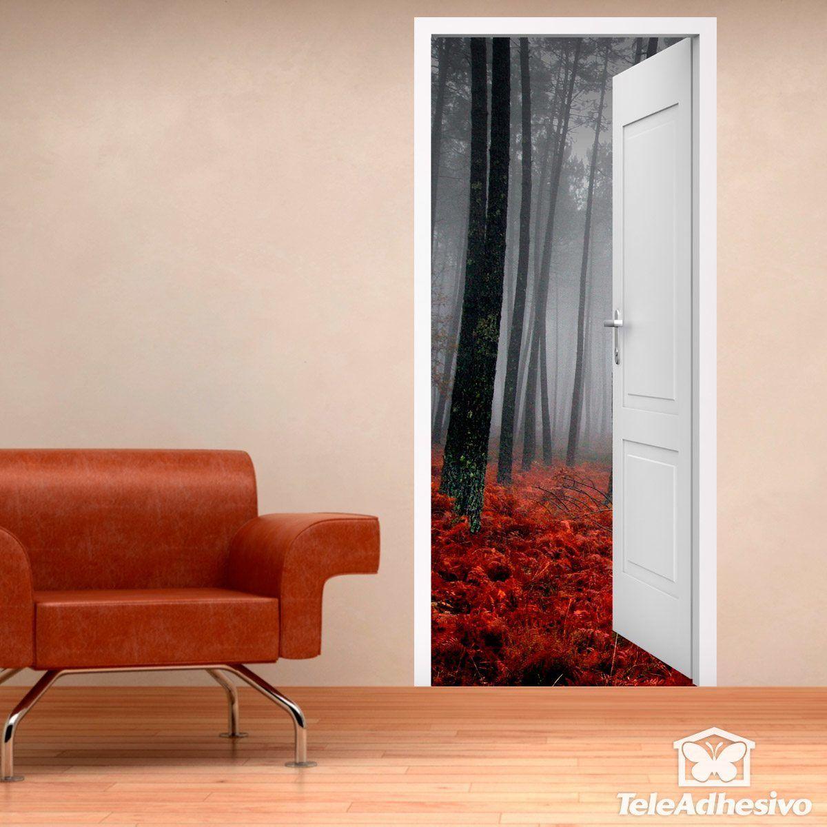 Vinilo decorativo puerta abierta de un bosque en oto o for Vinilos decorativos puertas