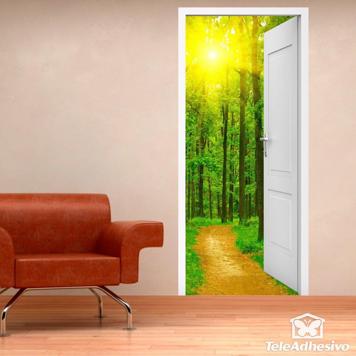 Vinilo decorativo de puerta abierta a un camino y a un bosque - Vinilo para puerta ...