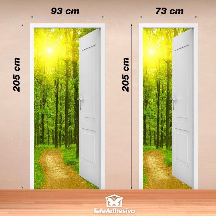Vinilo decorativo de puerta abierta a un camino y a un bosque for Vinilos decorativos puertas