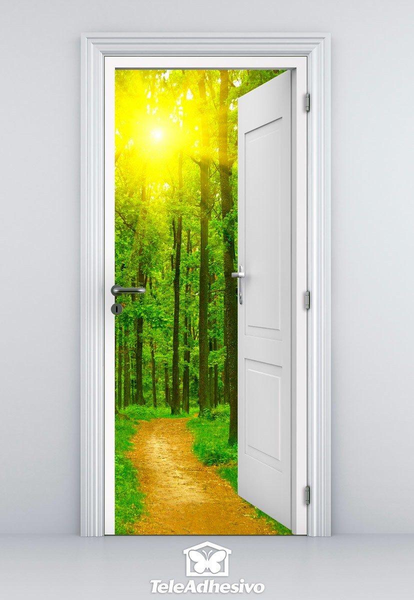 Vinilo decorativo de puerta abierta a un camino y a un bosque - Puertas con cristales de colores ...
