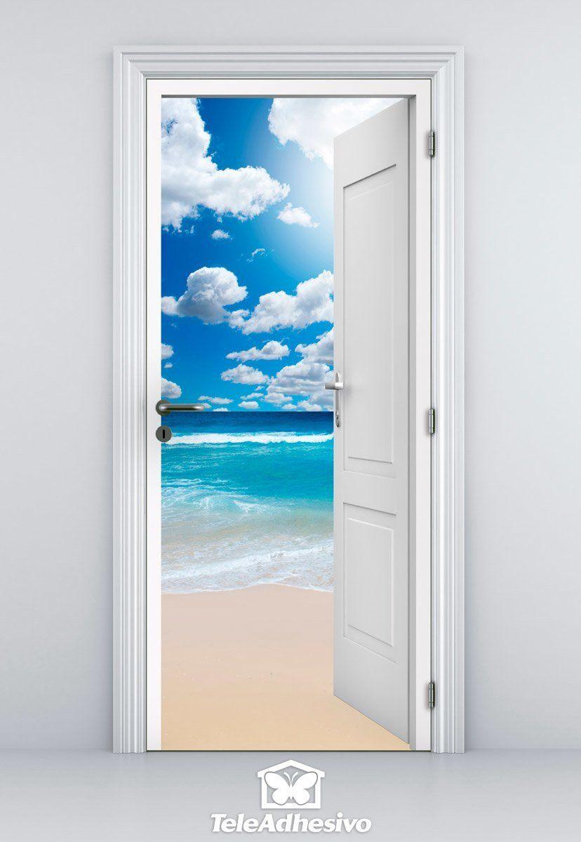Vinilo decorativo de puerta abierta a una playa y nubes - Vinilo para puerta ...