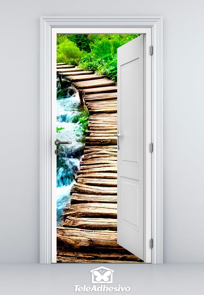 Vinilo decorativo puerta abierta a puente de madera for Vinilos decorativos puertas