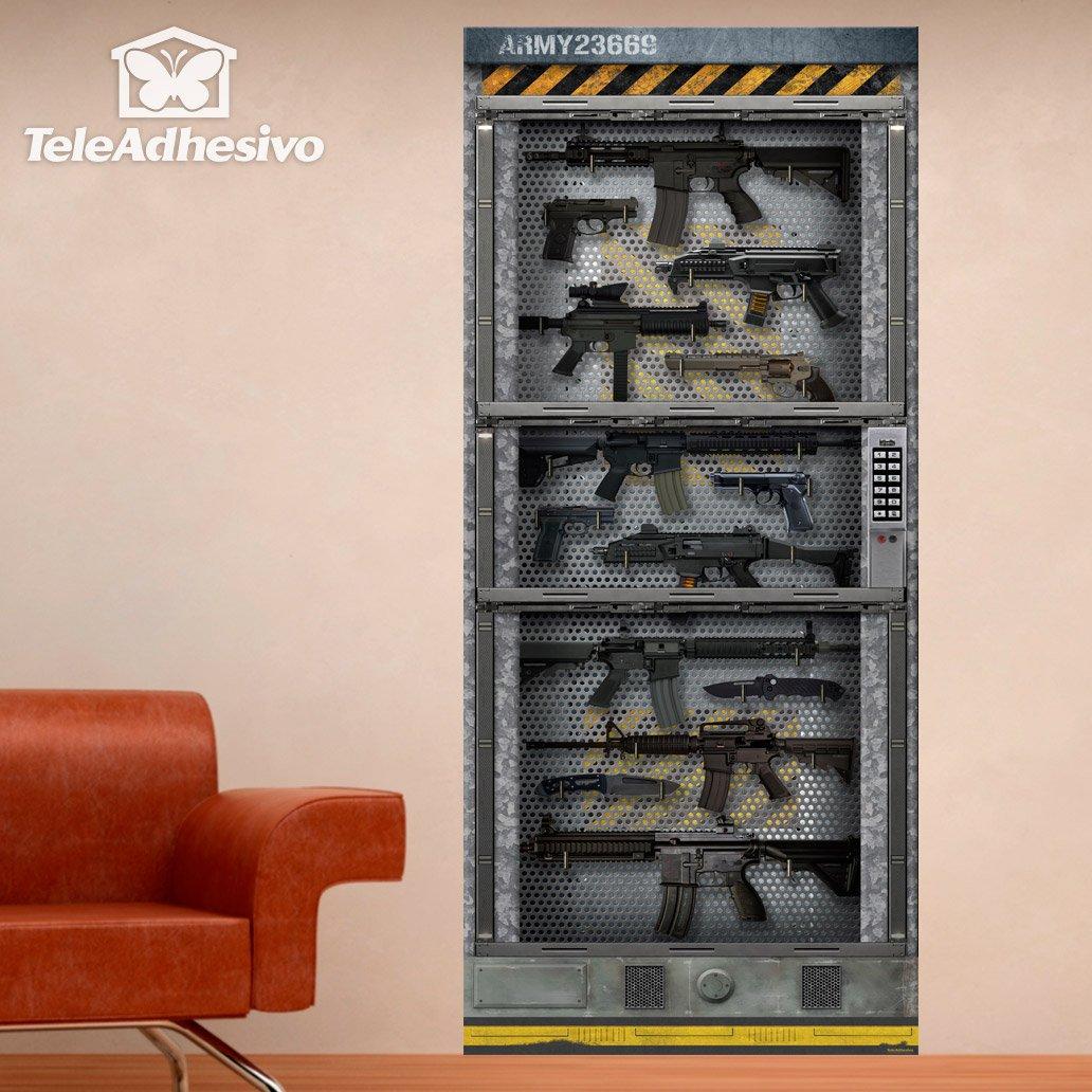 Pegatina de gran formato armario lleno de armas for Muebles para guardar armas de fuego