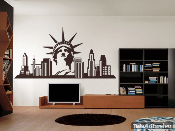 Vinilo decorativo new york skyline for Vinilos pared ciudades