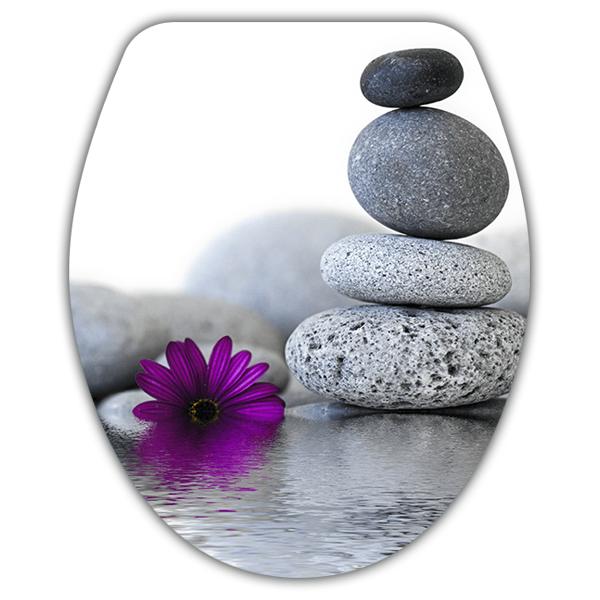 vinilos decorativos tapa wc piedras flor zen - Piedras Zen