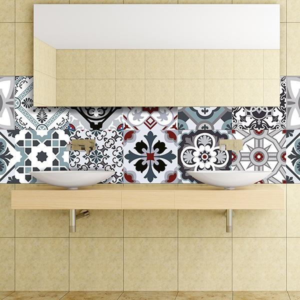 Kit 48 adhesivos azulejos tradicionales for Azulejos decorativos