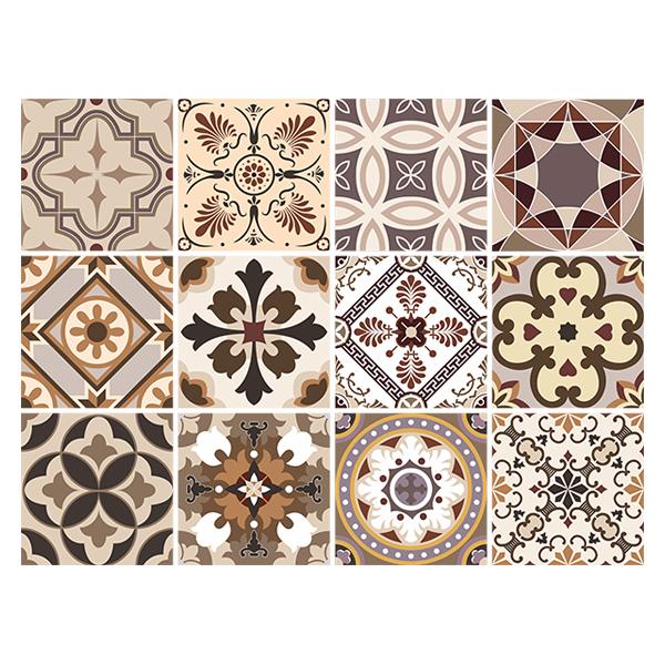 Kit 48 adhesivos azulejos en tonos sepia - Vinilos decorativos azulejos ...