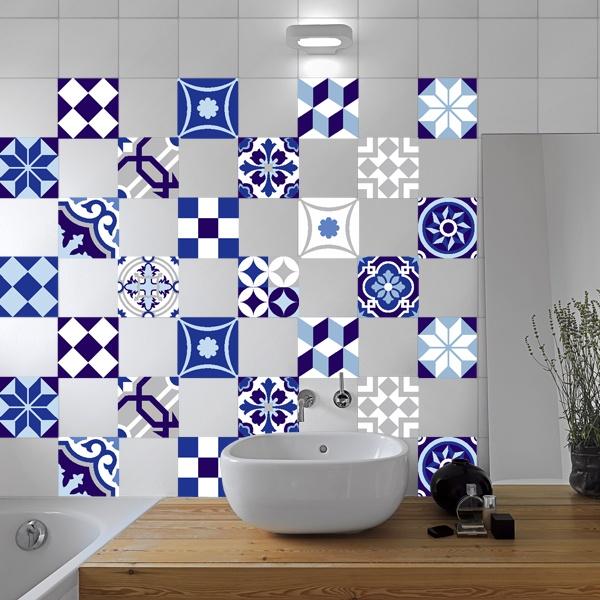 Kit 48 vinilos decorativos para azulejos azulados - Vinilos decorativos azulejos ...