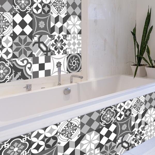 Kit 48 vinilos para azulejos blanco y negro for Vinilos pared azulejos