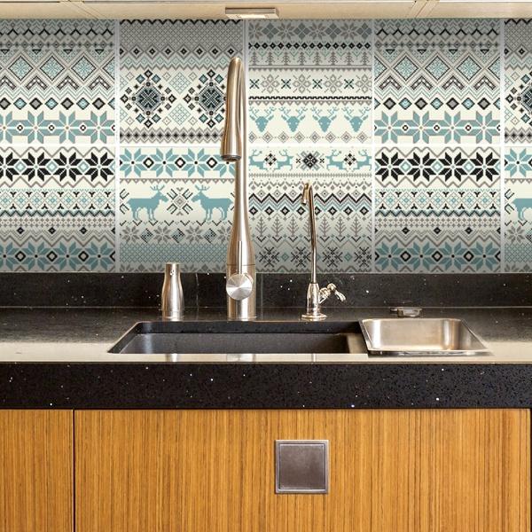 Vinilo decorativo kit 48 vinilos para azulejos invierno Vinilos pared azulejos