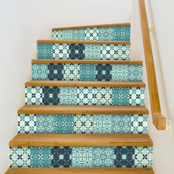 Kit 48 vinilos para azulejos mosaico verdoso for Vinilos pared azulejos