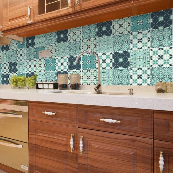 Kit 48 vinilos para azulejos mosaico verdoso for Vinilos para azulejos