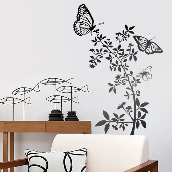 Vinilo decorativo floral con mariposas atzureus for Precios vinilos decorativos