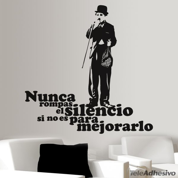 Vinilo decorativo charlot silencio for Frases en vinilo para pared