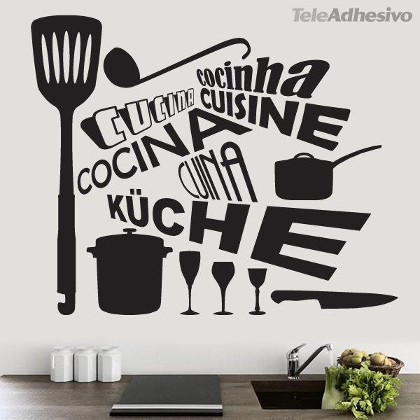Vinilo palabra cocina en distintos idiomas for Vinilos decorativos pared cocina