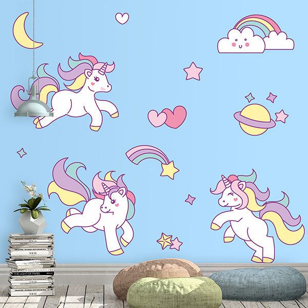 Vinilos Decorativos: Kit Unicornios infantiles