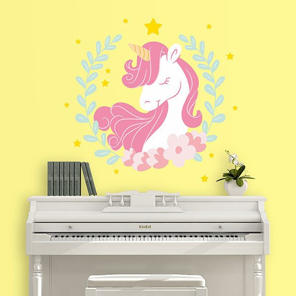 Vinilos Decorativos: Unicornio entre laureles