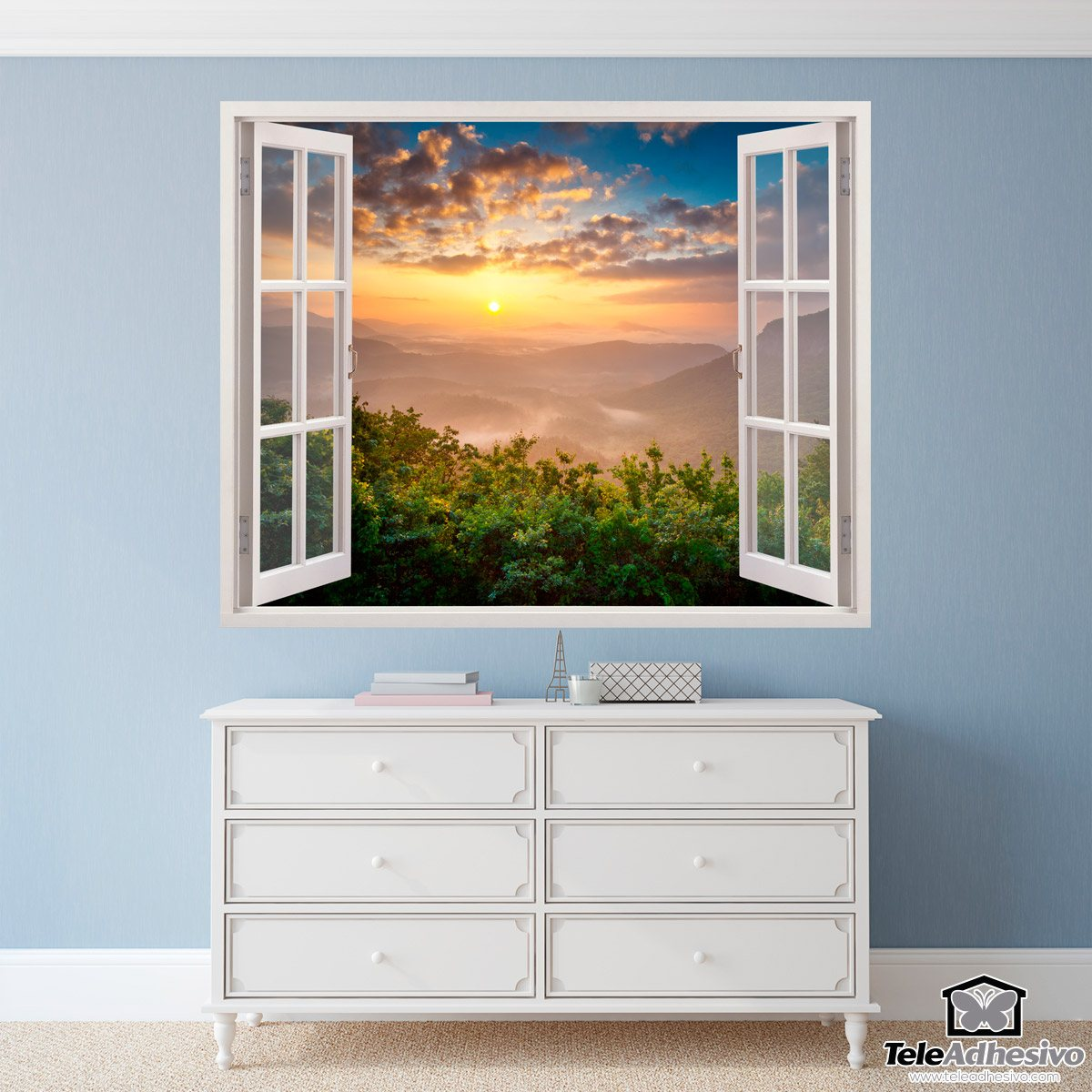 Vinilo decorativo paisaje puesta de sol for Vinilos murales paisajes