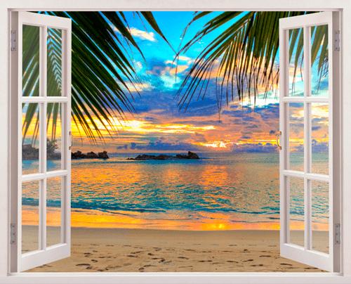 Puesta de sol en la playa for Fenetre entre ouverte
