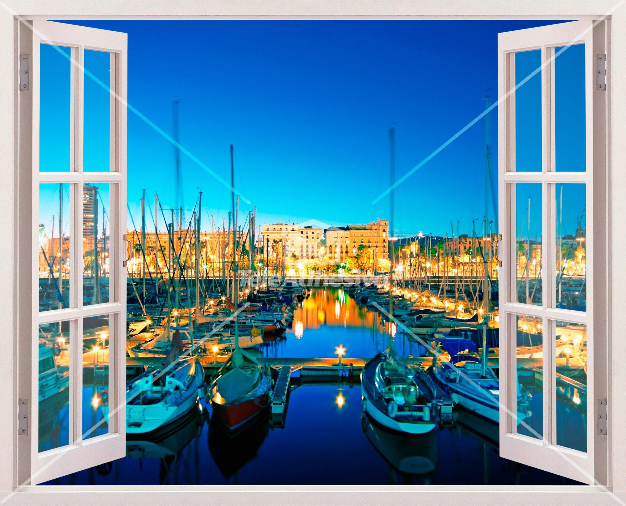 Vinilo decorativo noche en el puerto marino for The ventana