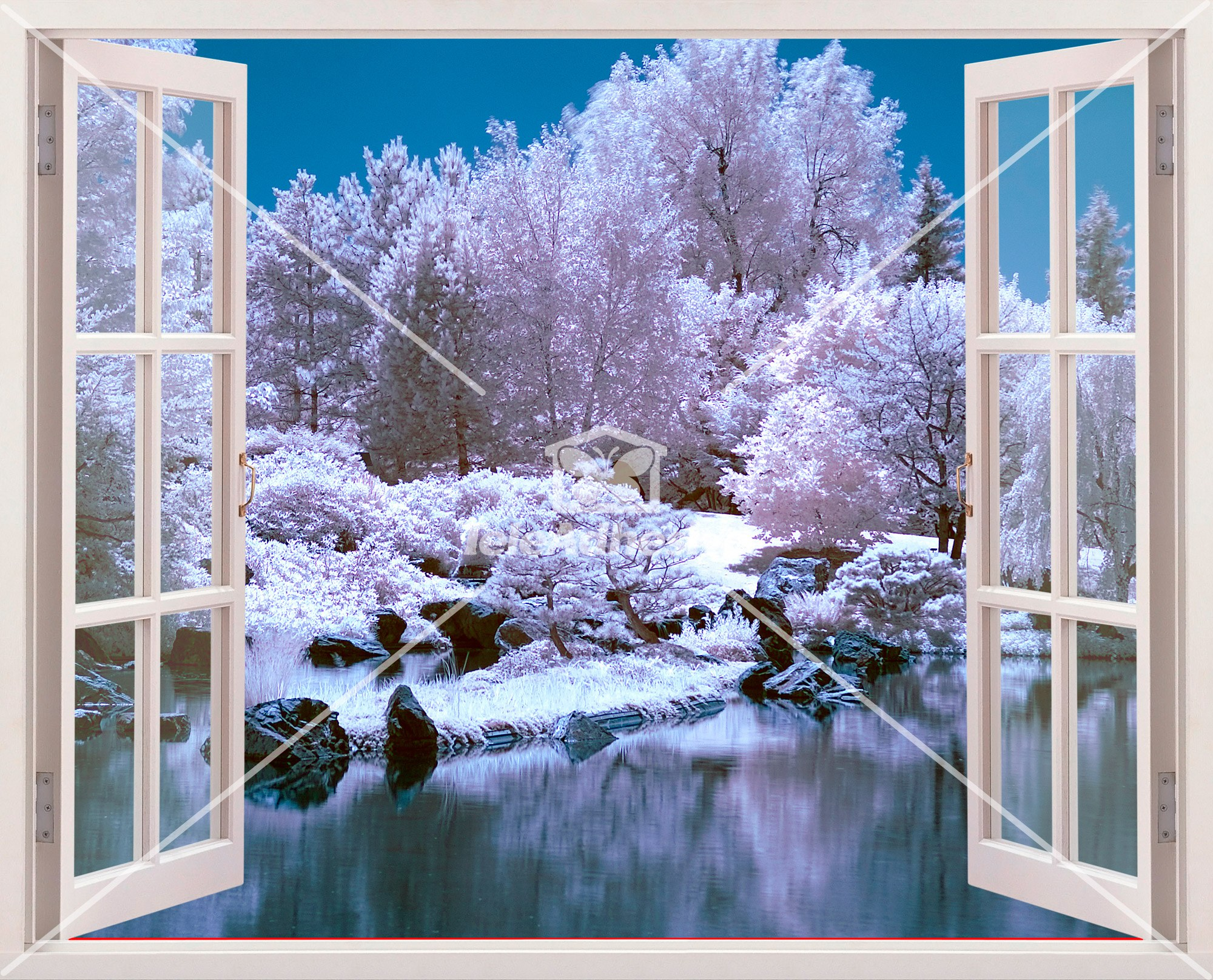 Vinilo 3d ventana bosque nevado for Vinilos decorativos pared 3d