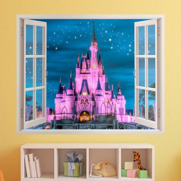 Vinilos Infantiles Disney.Vinilo Infantil Ventana Castillo De Disney Teleadhesivo Com