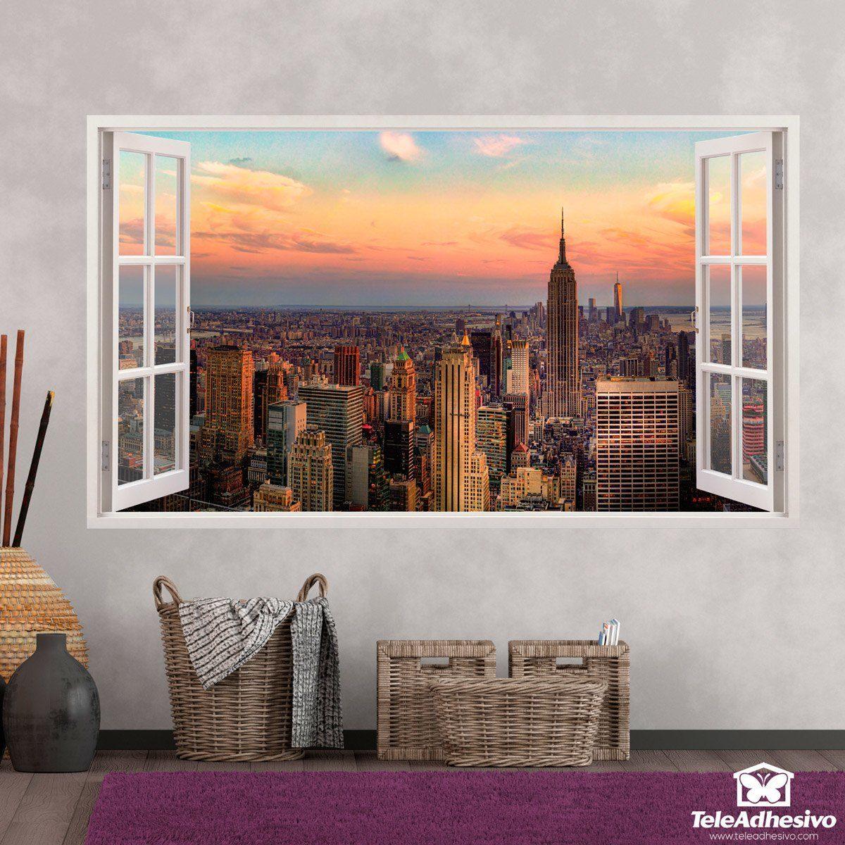 Pegatinas para decorar con forma de ventana teleadhesivo for Vinilos pared new york