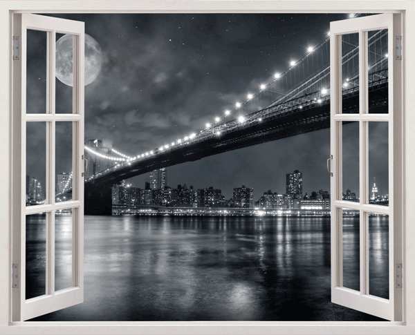 Vinilos Decorativos: Puente de Brooklyn (blanco y negro)
