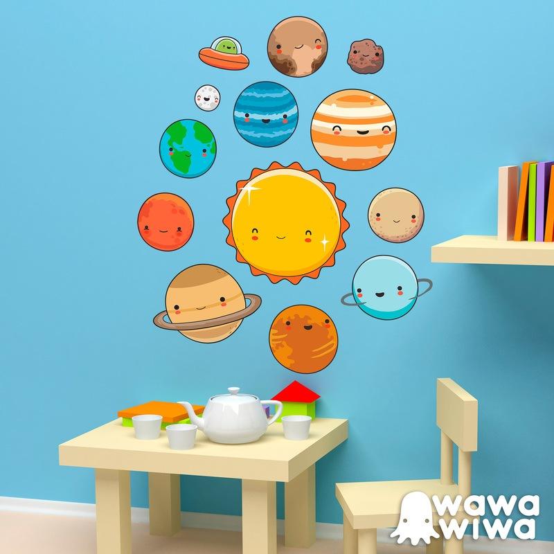 Vinilo infantil kit planetas del espacio for Vinilos para pared infantiles